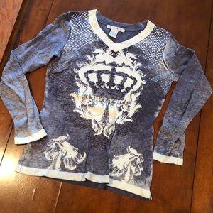CAbi 706 Blue Cream Crown Cashmere Blend Sweater